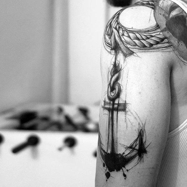 Artsy Paint Splatter Mens Anchor Arm Tattoo