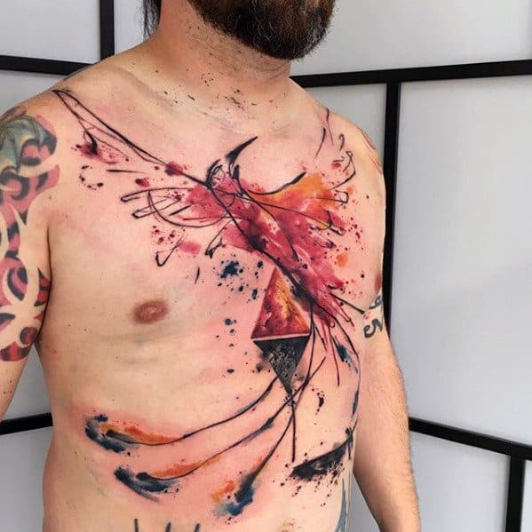 Artsy Phoneix Watercolor Guys Chest Tattoo