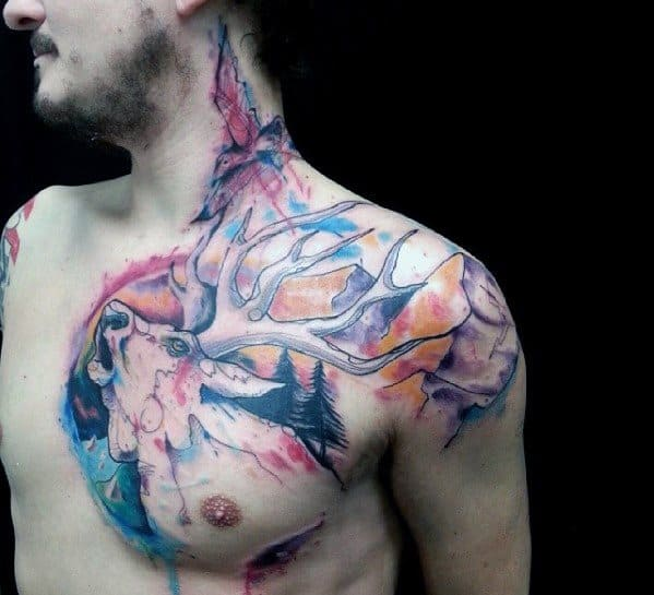Artsy Watercolor Deer Head Mens Shoulder And Chest Tattoo
