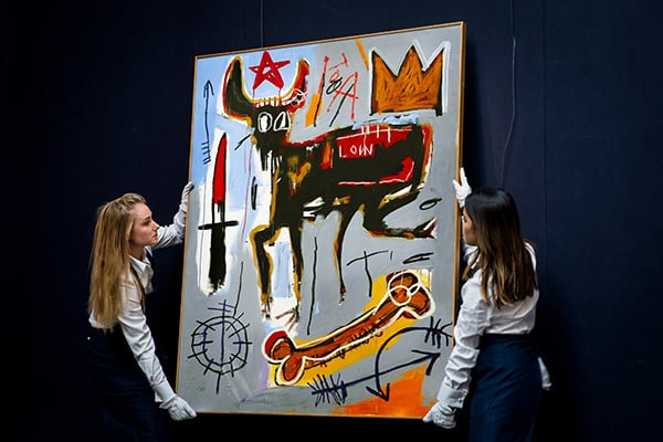 Basquiat Artwork Handling durch Kuratoren