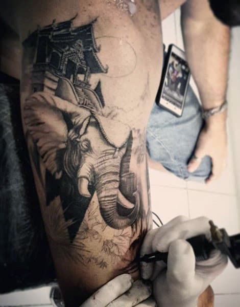 Asian Elephant In Temple Tattoo Guys Arm