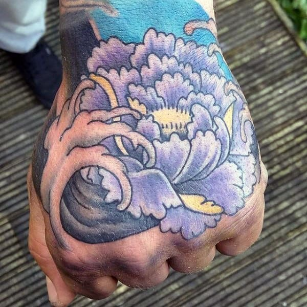 Asian Wave Tattoo For Men On Hand