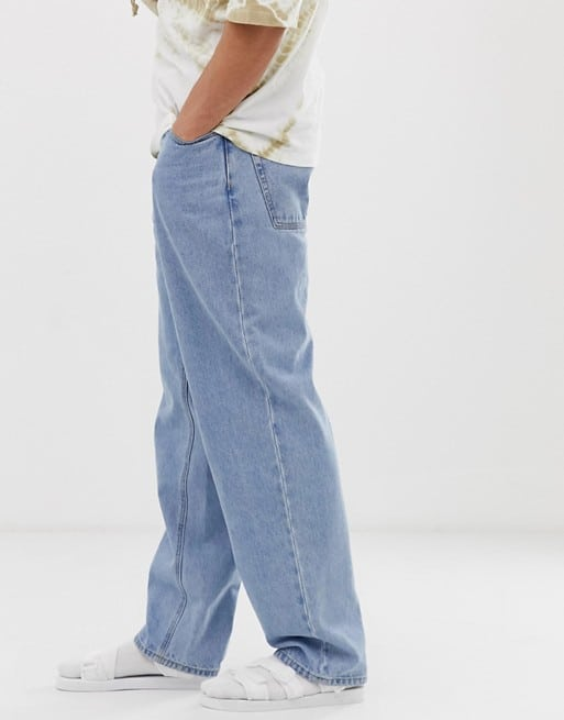asos design baggy jeans in vintage light wash
