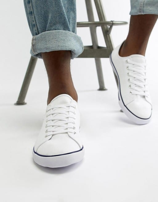 asos design lace up plimsolls in white