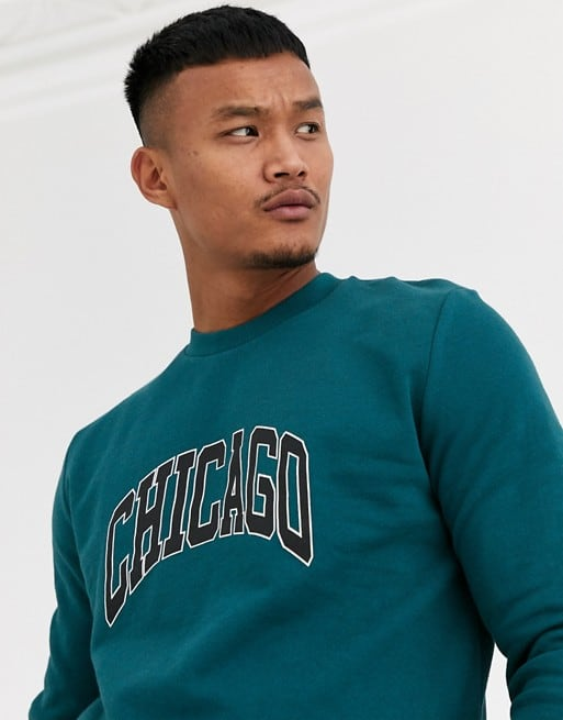 asos design sweatshirt with city print