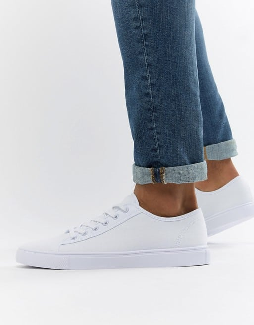 asos design trainers in white canvas