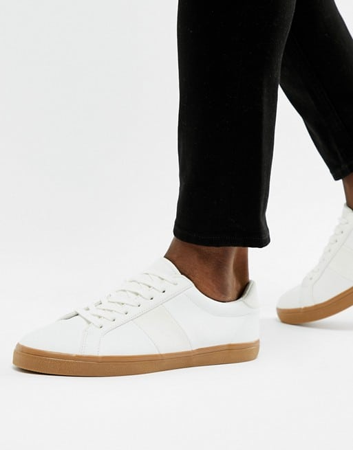 asos design trainers in white with gum sole