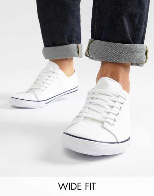 asos wide fit lace up plimsolls in white