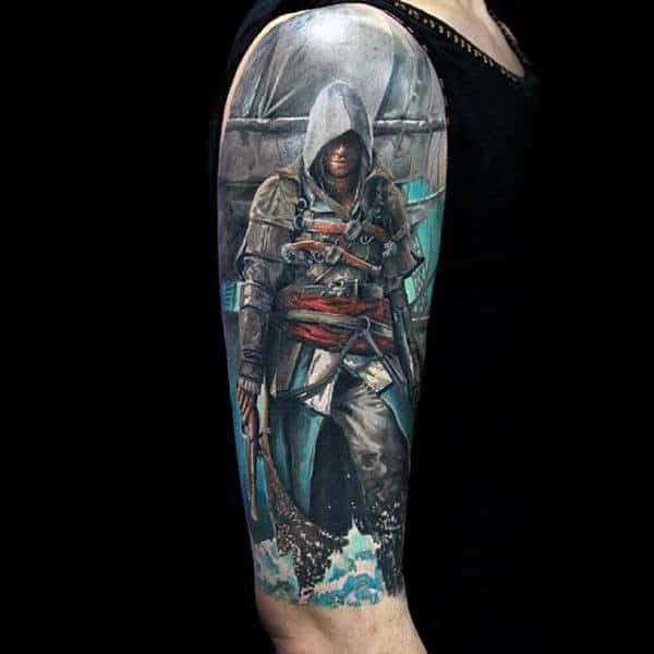 Assassins Creed Half Sleeve Guys Video Game Tattoo Design