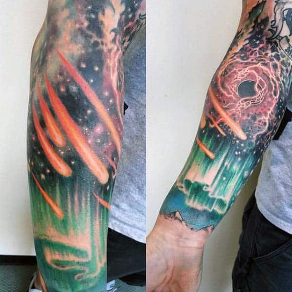 Asteroids In The Sky With Nothern Lights Male Sky Sleeve Tattoos