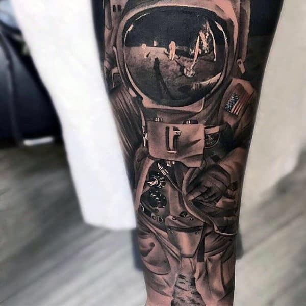 Astronaut Inner Forearm Tattoo Ideas For Men