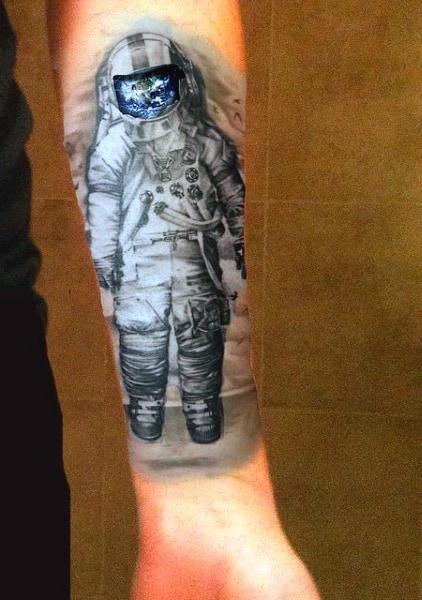 Astronaut Mens Forearm Tattoo