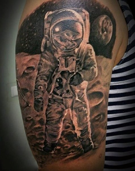 Astronaut On Craters Tattoo Mens Upper Arm