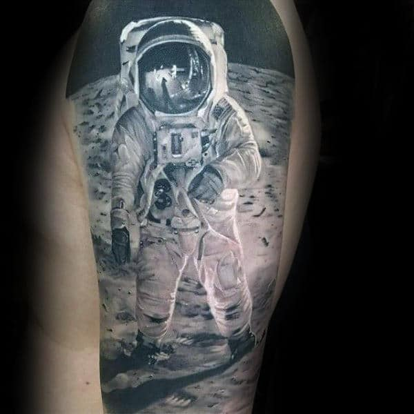 Astronaut On The Moon Black Ink Mens Half Sleeve Tattoo