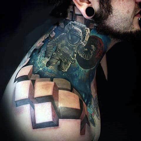 Astronaut Tattoo With 3D Blocks Tattoo Guys Shoulder