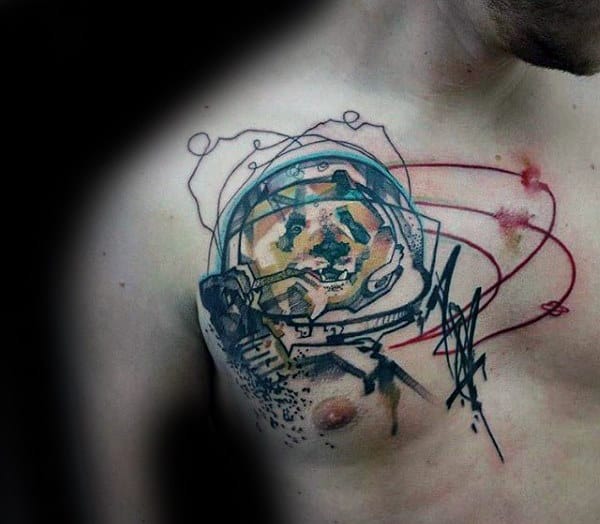 Astronaut Unique Mens Abstract Chest Tattoos