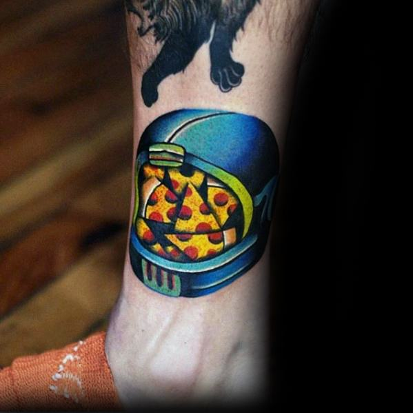 Astronauth Helmet Modern Pizza Tattoos For Gentlemen On Lower Leg