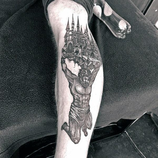 Atlas Holding Castle Mens Inner Forearm Tattoo Ideas