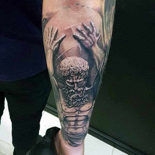 Atlas Holding Globe Guys 3d Outer Forearm Tattoo