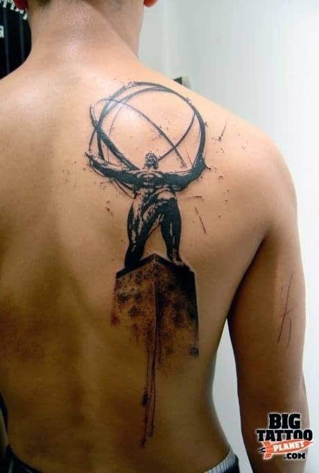 Atlas Holding Sphere Male Back And Shoulder Watercolor Tattoo Ideas