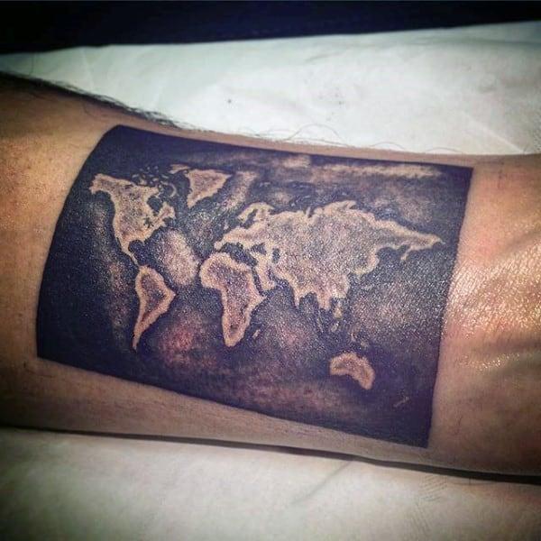 Atlas White Ink On Black Ink Mens Inner Forearm Tattoo