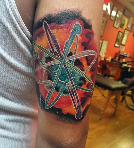 Atom Science Tattoo For Men On Back Of Arm