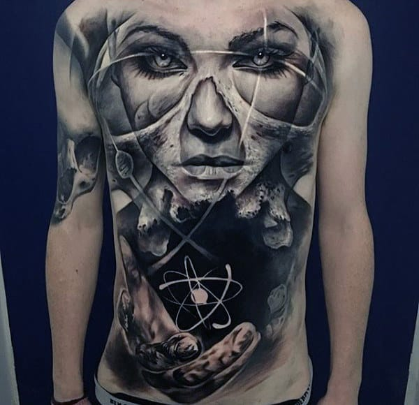Atom With Female Portrait Original Mens Chest Tattoo