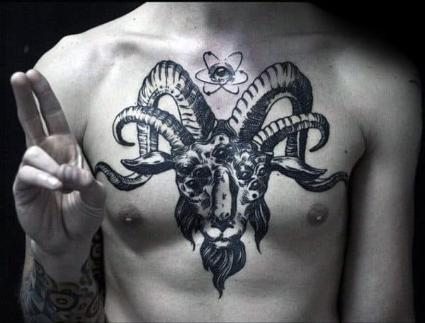 Atom With Multiple Horn Goat Mens Chest Tattoos