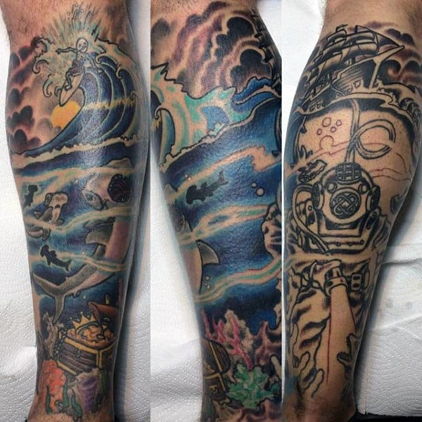 Atomic Wave Tattoo For Men On Legs
