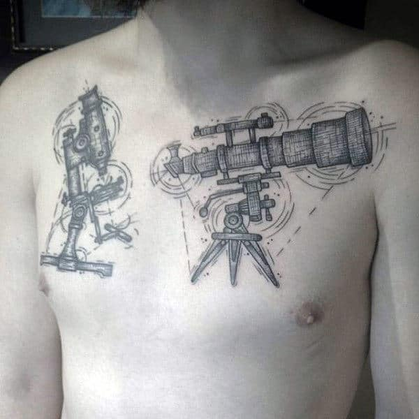 Atronomy Device Tattoo Male Chest