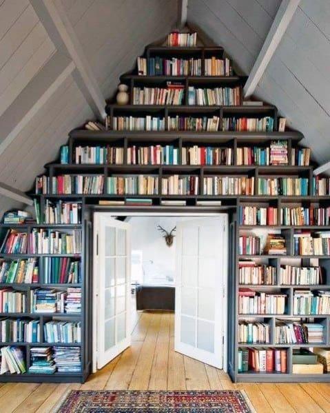 Attic Design Ideas For Floor To Ceiling Bookshelves