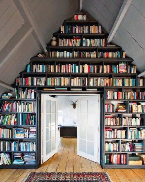 Attic With Corner Home Library Bookcases