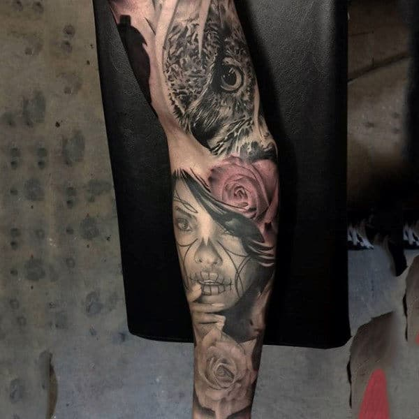 Attractive Day Of The Dead Lady And Rose Tattoo Guys Sleeves