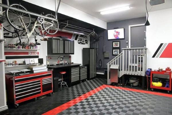 50 garage paint ideas for men masculine wall colors and themes. Black Bedroom Furniture Sets. Home Design Ideas