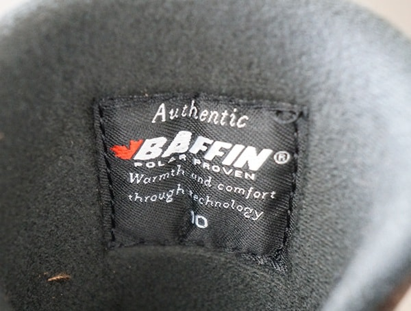 Authenthic Interior Tag Mens Baffin Control Max Boots