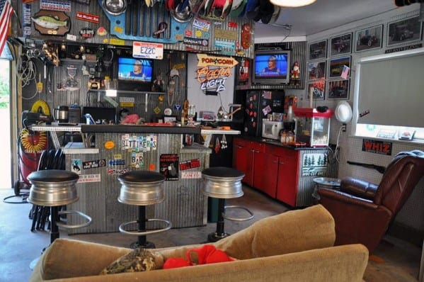 Automotive Themed Guys Awesome Man Caves With Bar