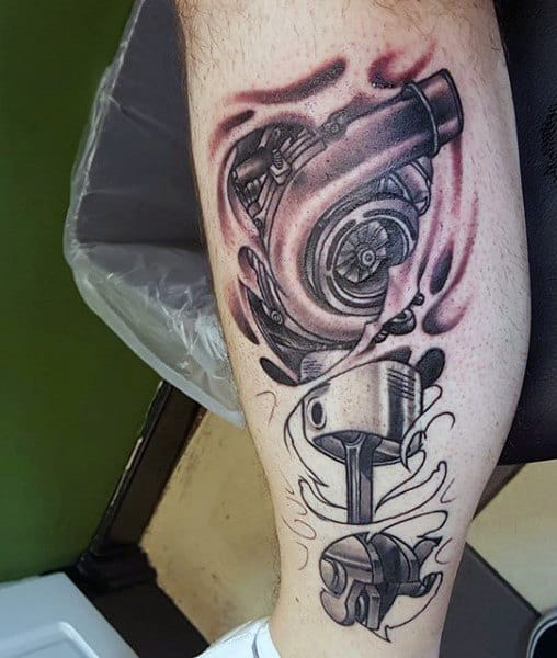 Automotive Themed Piston Tattoos For Men On Leg