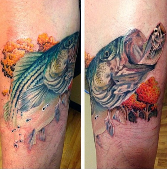 Autumn Themed Fishing Bass Tattoo Inspiration For Men