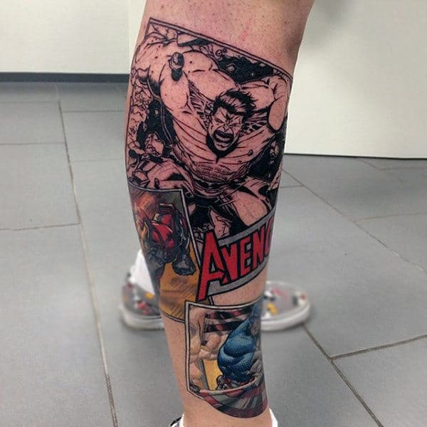 Avenger Hulk Tattoo Male Lower Legs