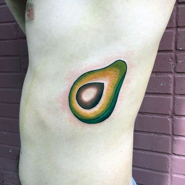 Avocado Tattoo Designs For Guys On Rib Cage Side Of Body