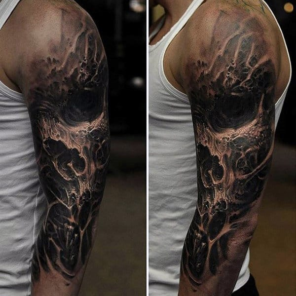 Awesome 3d Black Ink Skull Mens Half Sleeve Tattoos