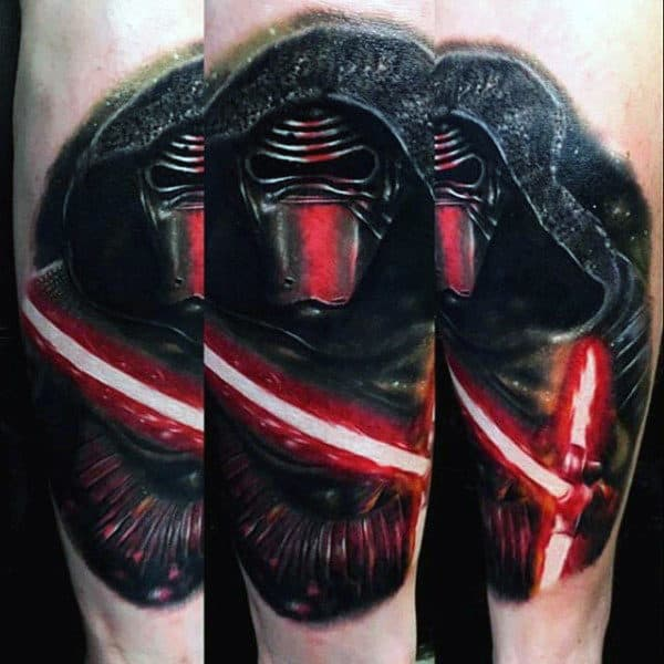 Awesome 3d Lightsaber Mens Arm Tattoo