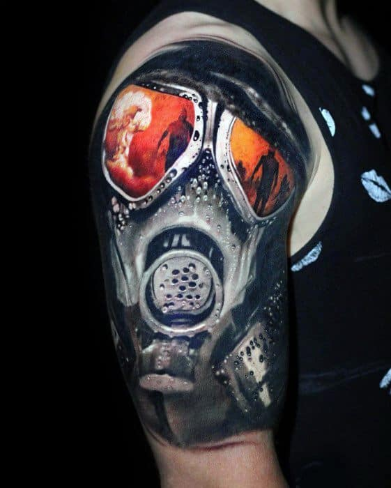 Awesome 3d Realistic Gas Mask Mushroom Cloud Half Sleeve Tattoos For Men