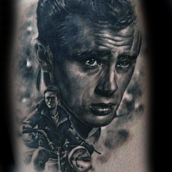 Awesome 3d Realistic James Dean Tattoos For Men