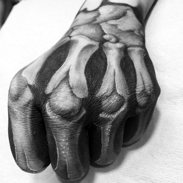 Awesome 3d Skeleton Hand Anatomical Tattoo Ideas For Guys