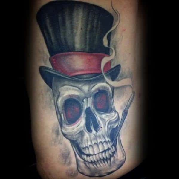 Awesome 3d Skull Rib Cage Side Top Hat Tattoos For Men