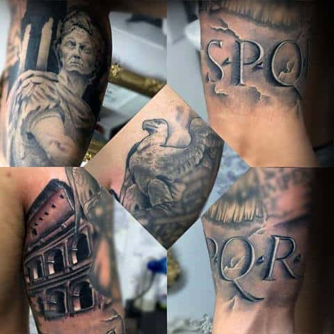 Awesome 3d Spqr Guys Rome Themed Arm Tattoos