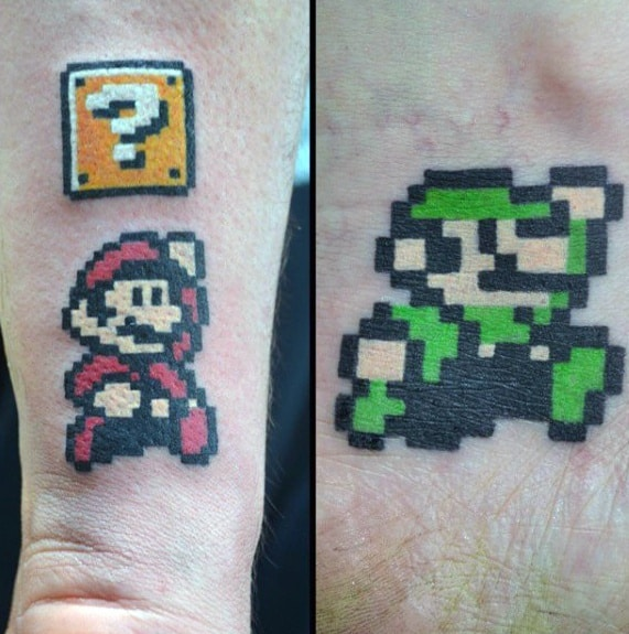 Awesome 8 Bit Mario Brothers Mens Forearm Tattoos