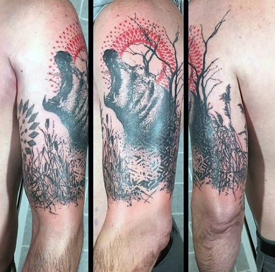 Awesome Abstract Black And Red Ink Quarter Sleeve Hippo Tattoos For Men