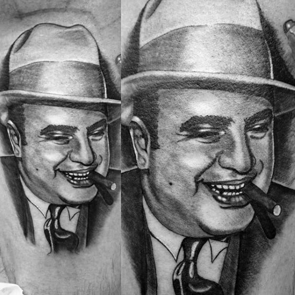 Awesome Al Capone Tattoos For Men On Leg
